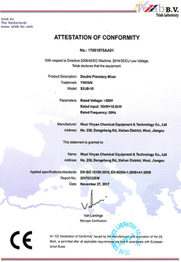 CE Certification of double planetary mixer