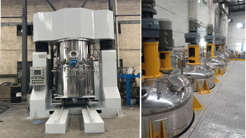 The comparison of dual planetary mixer and tri-shaft mixer