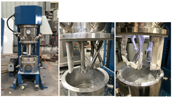 5L double planetary mixer-testing by customer's own materials