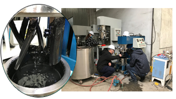 Experiment in YINYAN factory--- Double planetary mixer for mixing new energy slutty