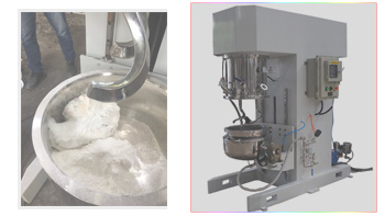 Customers come and visit us, and using YINYAN double planetary mixing machine for doing experiment