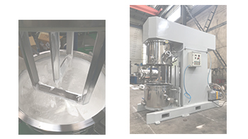 Customer checks and accepts YINYAN vertical power dual planetary mixer---epoxy glue mixing machine