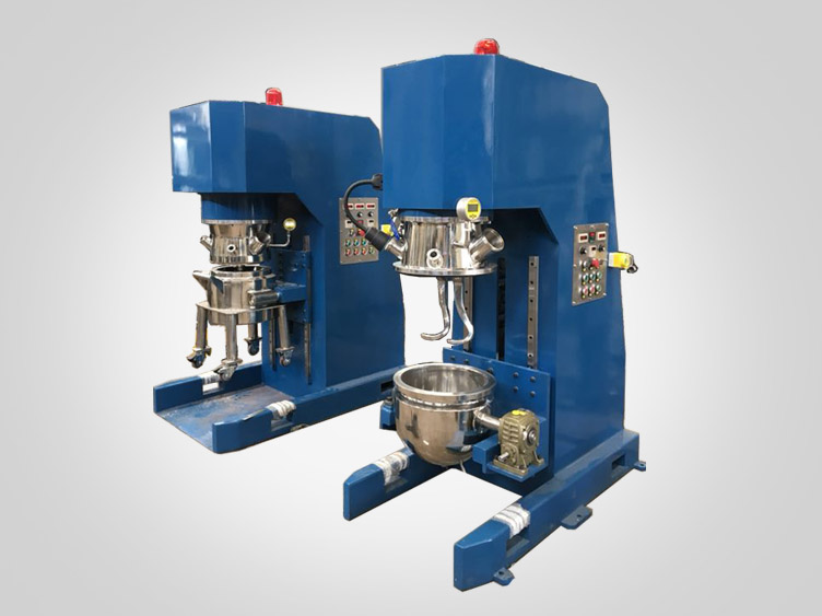 Double planetary mixer with hook type agitator
